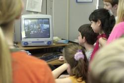 Woodland Park fourth grade students near Norfolk, Neb., watch a video in class. (AP Photo/Norfolk Daily News, Dennis Meyer)