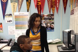 Joseph Nelzy and his College Match advisor, Alysha Rashid, at Abraham Lincoln High School in Brooklyn.