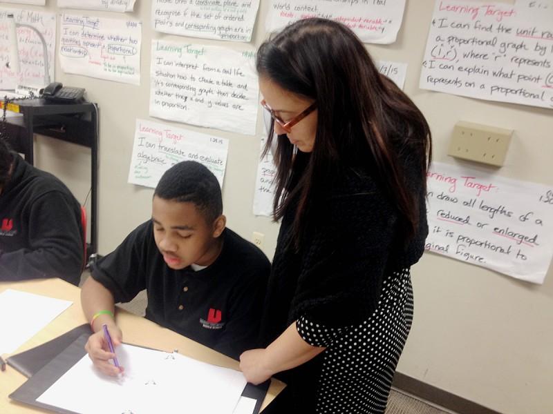Jennifer Bahns at the University Prep Academy middle school in Detroit.