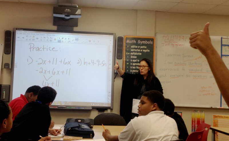 As political battles rage over the Common Core, teachers like Jennifer Bahns at the University Prep Academy middle school in Detroit are trying to prepare their students for the first major Common Core exams this spring.