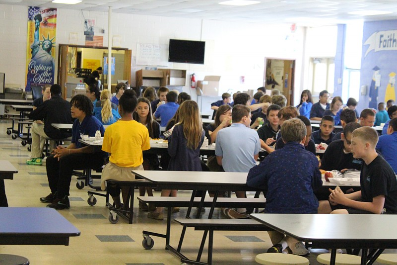 Students eat lunch at Faith Middle School, located on the U.S. Army Base at Fort Benning, Georgia.