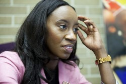 New principal Krystal Hardy works in her office at Sylvanie Williams College Prep elementary school, on January 16, 2015 in New Orleans, Louisiana.
