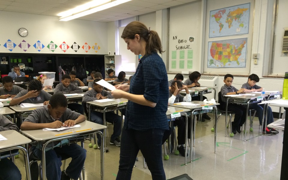 Hannah Sacco reads to her students at the Nashville Academy of Computer Science.