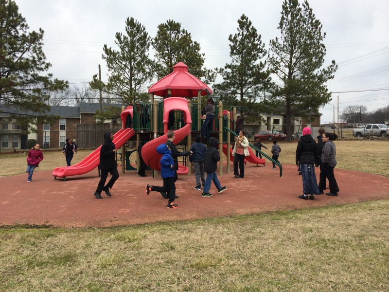 Students enjoy recess at the Nashville Academy of Computer Science.