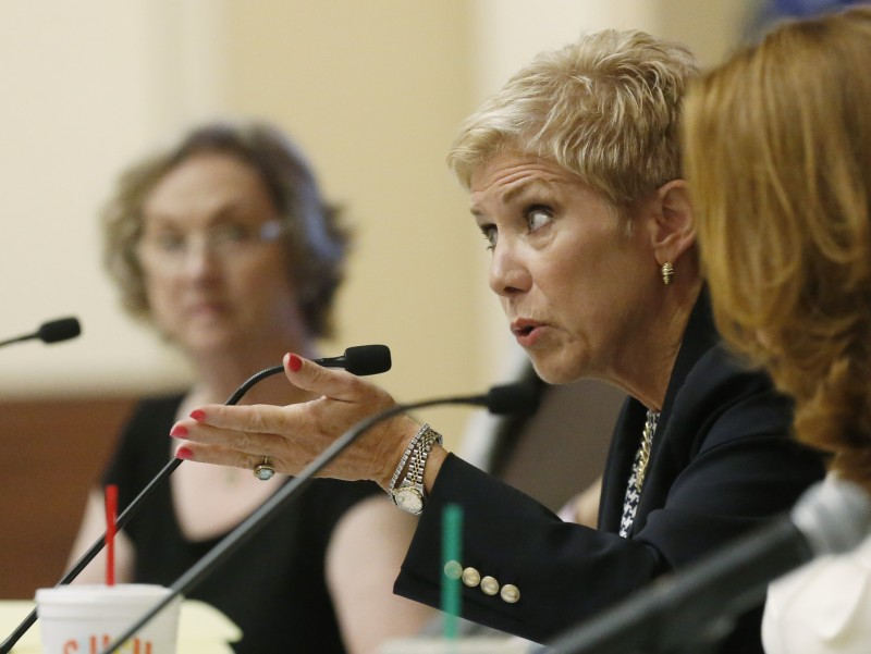 Janet Barresi, state superintendent, gestures as she speaks during a State Board of Education meeting in Oklahoma City, Wednesday, Aug. 27, 2014.