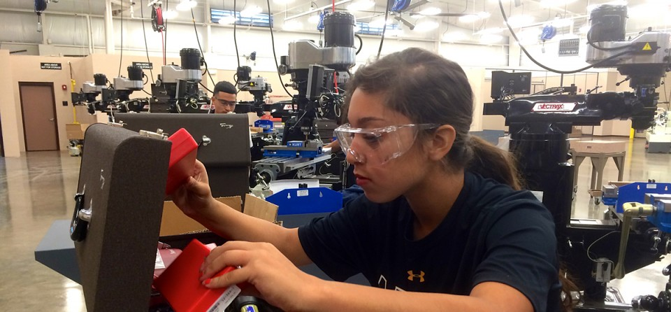 """Leeanna Rayes, 16, was looking for something """"different"""" when she applied to the Greater Waco Advanced Manufacturing Academy, which gives students hands-on training and then guarantees them a job upon graduation."""