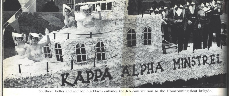 Kappa Alpha fraternity minstrel float, replete with southern belles and young men in blackface, in Terrapin 1956.