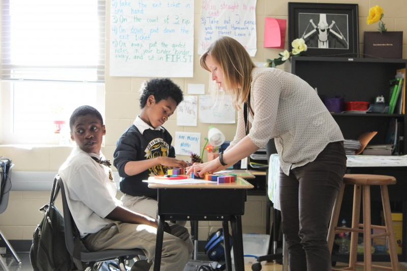 Math instructional specialist Greta Anderson (right) is uncertain about how her students will perform on the test.
