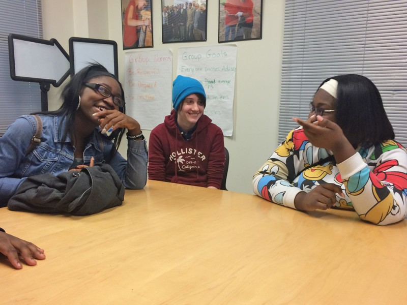 Metropolitan ninth-graders Latrese Martin, Ross Jacobson and Tia Stevens say their trauma-informed class gives them a place to be heard.