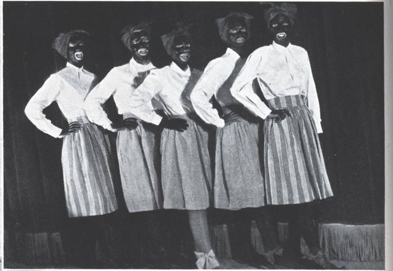 Five women in blackface in the 1945 Terrapin.
