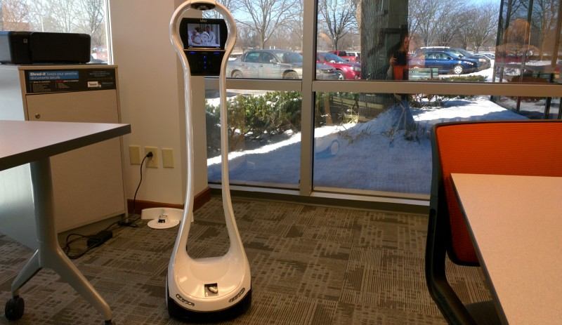 The telepresence robot at the Nexus Academy of Columbus is an option for virtual teachers at the school. They don't have to use it, but they can log on and motor around the school if they want to try it.