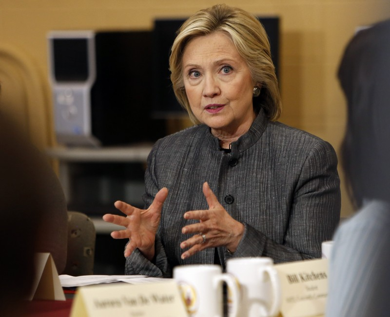 Democratic presidential candidate Hillary Rodham Clinton speaks to students and faculty during a campaign stop at New Hampshire Technical Institute, Tuesday, April 21, 2015, in Concord, N.H.