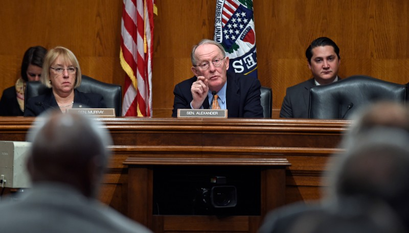 Senate Health, Education, Labor and Pensions Committee Chairman Sen. Lamar Alexander, R-Tenn., left, sitting next to the committee's ranking member Sen. Patty Murray, D-Wash., asks a question during a hearing on Capitol Hill in Washington, Wednesday, Jan. 21, 2015, looking at ways to fix the No Child Left Behind law. Alexander said he is open to discussion on whether the federal government should dictate standardized testing or leave it up to states.