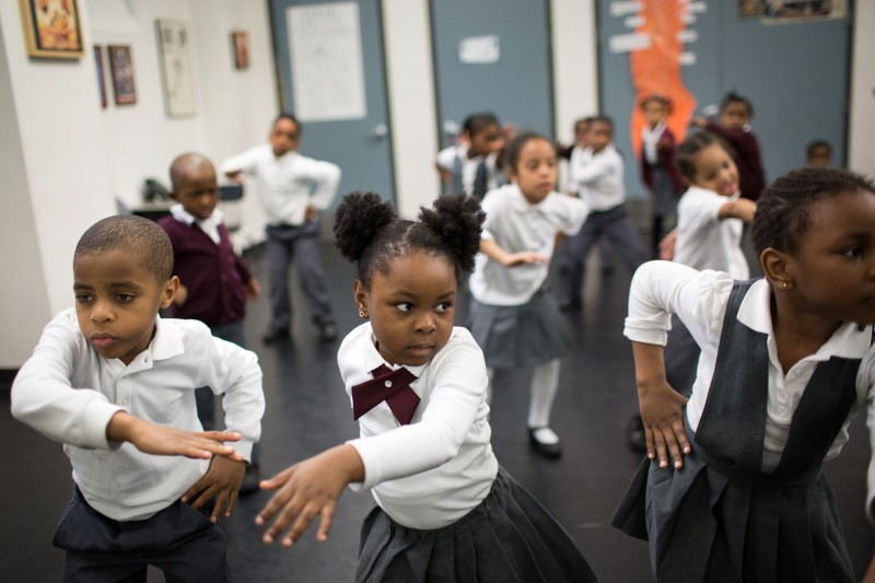 Students at Ascend charter schools in Brooklyn take classes in the arts, such as this dance class for kindergartners. Their teachers also integrate the arts into academic subjects.