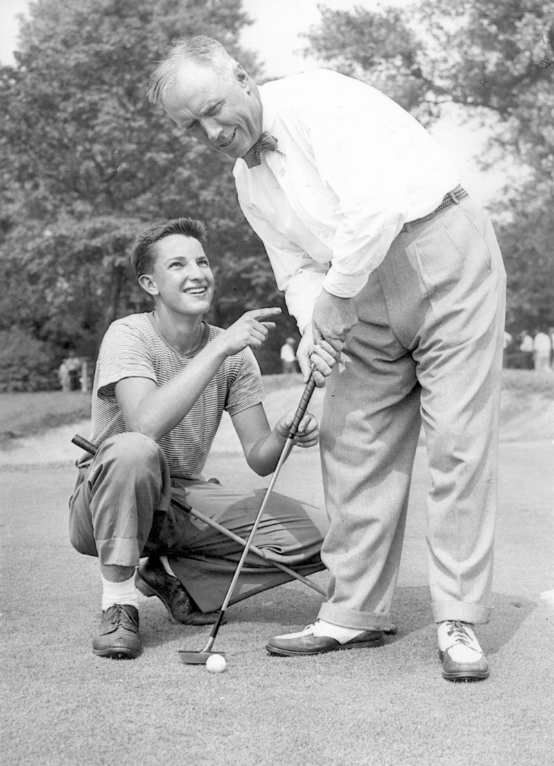 "Charles ""Chick"" Evans Jr., in whose name a scholarship pays to send hundreds of students to college, with a caddie."