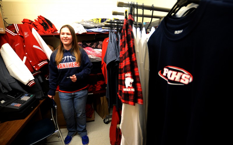 Jessica Massey, a senior at Pittsfield Middle High School, in the student store she manages.