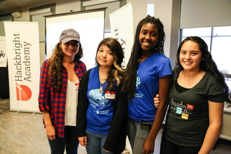 Castlemont High School computer science teacher Claire Shorall with students Laura Hernandez, Ronye Cooper and Sandra Vivian (left to right). Cooper started the girls computer coding club at the Oakland high school.