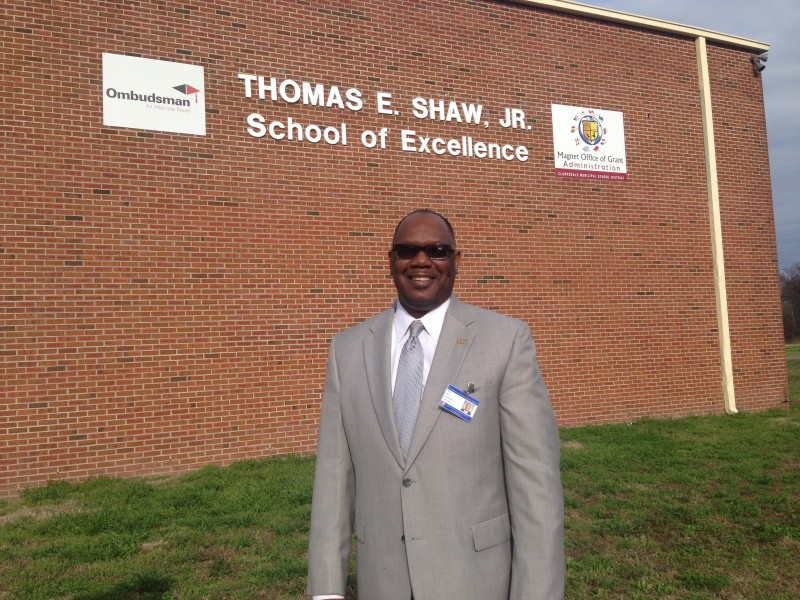Superintendent Dennis Dupree in front of the building that houses Clarksdale's Ombudsman program