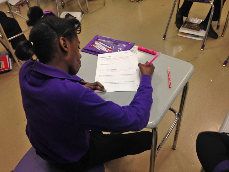 Students are required to write out answers in every class and subject, a practice that ramped up as the school braced for the Common Core Standards era.