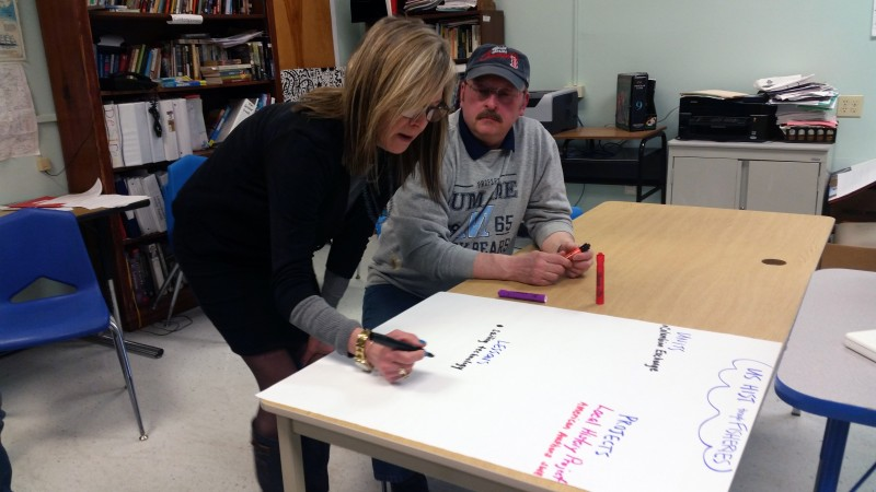 Teachers at Deer Isle-Stonington High School brainstorm what to cover in a new class called U.S. History through Fisheries. The course will be offered next year as part of a program aimed at engaging students interested in the lobster industry.