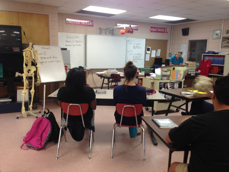Students participate in a medical careers class at Gulfport High School; the class is paid for, in part, by local hospitals.