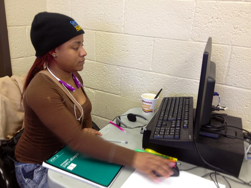 "Raylene Johnson, 18, the mother of a three year-old, appreciates the flexibility of the online classes at Detroit's Covenant House Academy. ""If I miss a day of school, and if I have access to a computer, I'm able to do my work that I missed that morning instead of having to wait for the next day."""