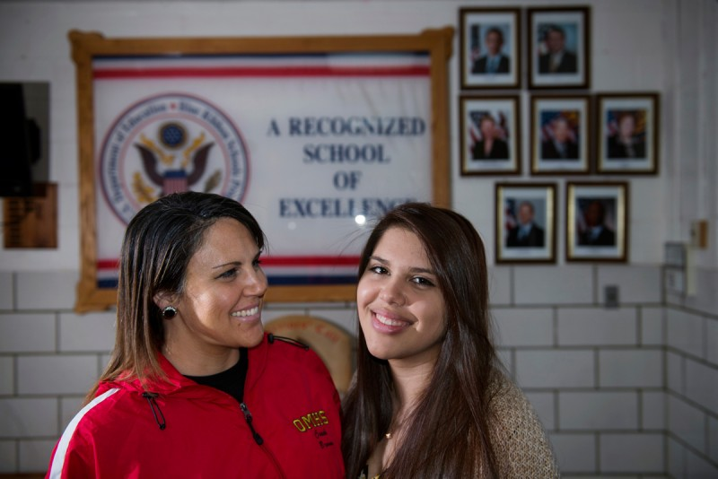 Jennifer Brown, left, is the girls' soccer coach at Quantico Middle/High School where her daughter, Jessica Brown, right, graduated in June. The pair are seen on March 13, 2015 in Quantico, VA.