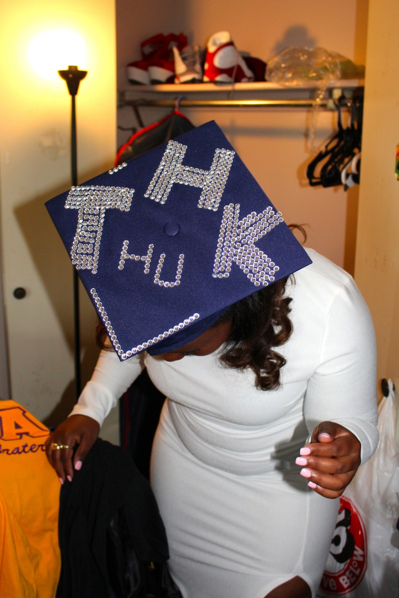 When her personal statement didn't fit, post-Katrina success story Talitha Halley decorated her mortarboard with her initials and those of the university to help family and friends spot her among the graduates.