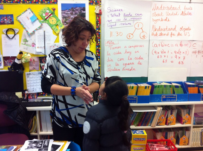 Third-grade bilingual teacher at John F. Kennedy Magnet School Melissa Cruz has been infusing classroom conversations with the types of questions students will encounter on the Common Core English exam.