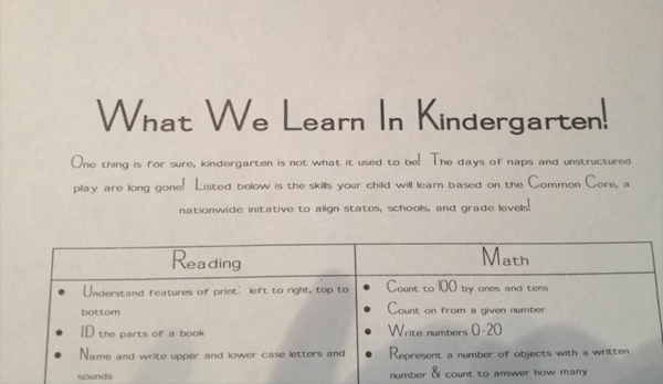 A worksheet that Kathy Glover's kindergartener brought home from school to introduce the new Common Core standards.