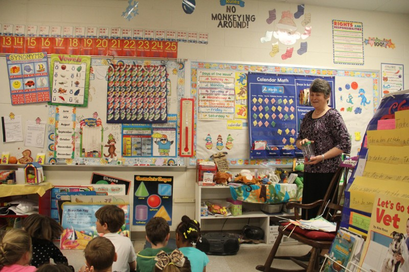 "Veteran kindergarten teacher Lynn Chapman prepares to teach a lesson on estimation. Chapman has worked with her principal to fit in time for lessons on money and ""calendar time"" along with the new standards."