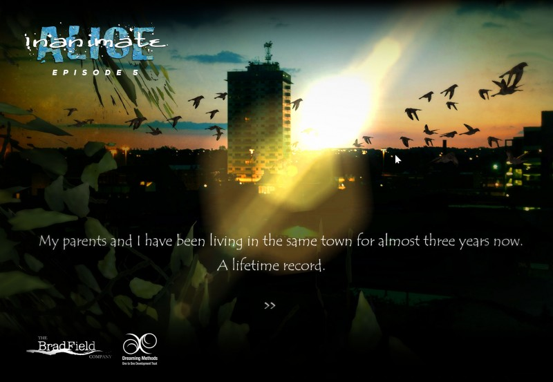 Screenshot from Inanimate Alice, an episodic interactive story created by the British novelist Kate Pullinger and British/Canadian multimedia artist Chris Joseph. Alice is offered for free online -- it blinks, buzzes, hums, sings, jitterbugs, plays games, and, on occasion, rains and snows. The first of a planned 10 chapters debuted in 2005.