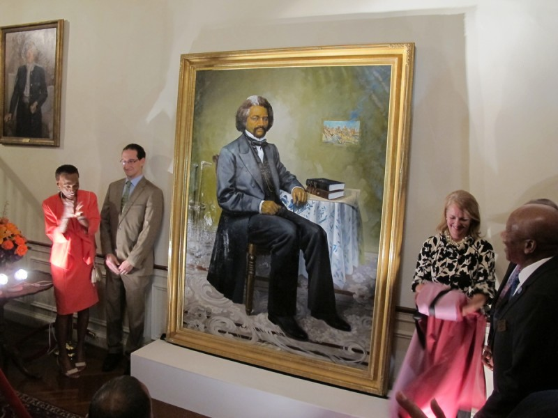 A portrait of 19th century abolitionist Frederick Douglass is unveiled at the Maryland governor's residence in Annapolis, Maryland, on Monday, Sept. 15, 2014. It is the first portrait of an African-American to be displayed as part of the collection in the governor's residence.