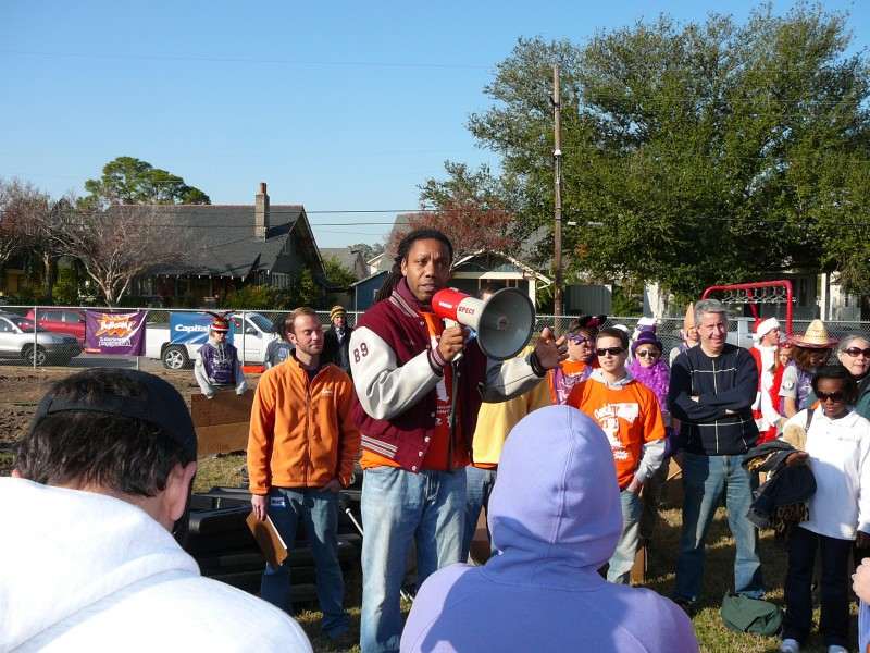 Andre Perry gets volunteers fired up for a KaBOOM! playground build at Gentilly Terrace Elementary School. Volunteers included Capital One Bank employees, school parents, neighbors and organizers from KaBOOM! on Dec. 6, 2008.