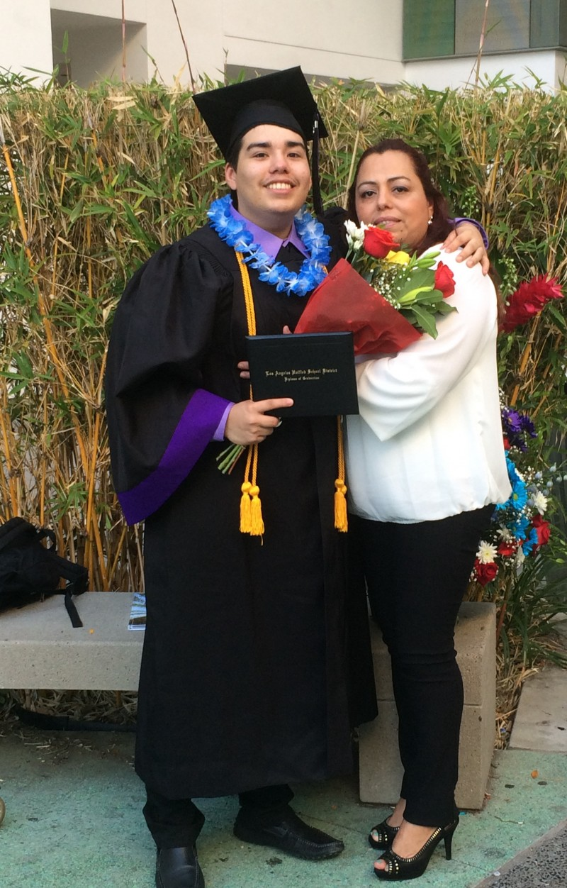 should high school students have to defend their diploma like a jorge magana poses his mother after earning a diploma from los angeles high school of