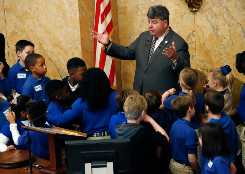 House Speaker Pro-Tempore Greg Snowden, R-Meridian, explains the purpose of the state Legislature to a group of Meridian gifted elementary school children in House Chambers at the Capitol in Jackson, Miss., Tuesday, Jan. 27, 2015. A group of 100 children, teachers and parents toured the state building and visited with their lawmakers as parents pressed their desires for strong public school funding.