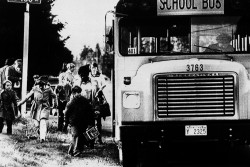 Children board a school bus in 1978 after the start of Seattle's voluntary school desegregation program, which was the first major city in the U.S. to desegregate the school voluntarily.