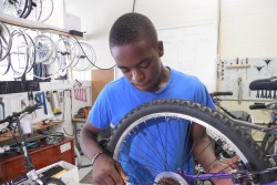 Deshon Leggett, 16, is determined to be a mechanic but will need some help getting there after he finishes his bike-shop apprenticeship.