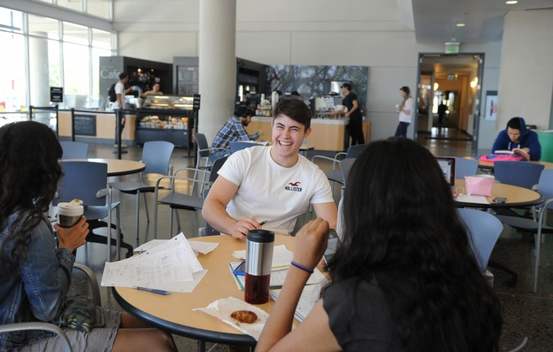 UC Merced student Stevie Hughes, 19, hangs out with friends in the Lantern.