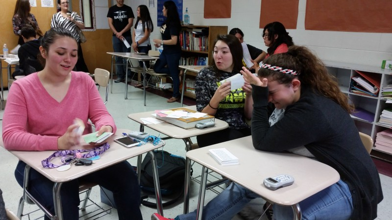 Juniors in the early college program at PSJA's North High School do a last minute review of flashcards for a final history exam for a South Texas College course.