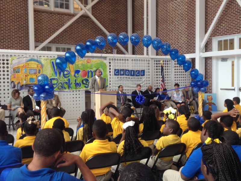 Patrick Dobard leads the ribbon-cutting ceremony for New Orleans's McDonogh 42 Elementary school. The superintendent of the Recovery School District, Dobard is also an alumni of the school. New Orleans commemorates the 10th anniversary of Hurricane Katrina this week.