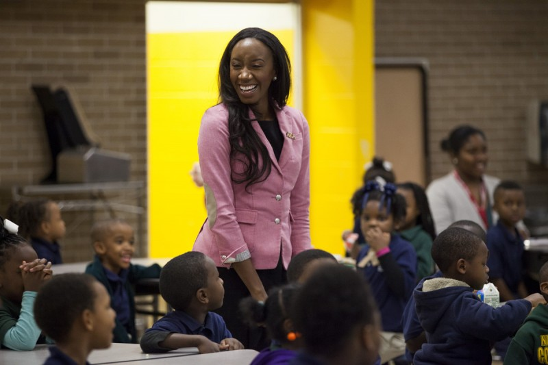principal krystal hardy talks to students during a community meeting at sylvanie williams college prep elementary school on january 16