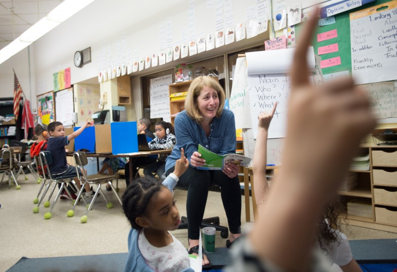 Pleasant View Elementary School second grade teacher Claudia Jackvony, who was named Providence teacher of the year in 2014, leads her class in a reading discussion this past May.