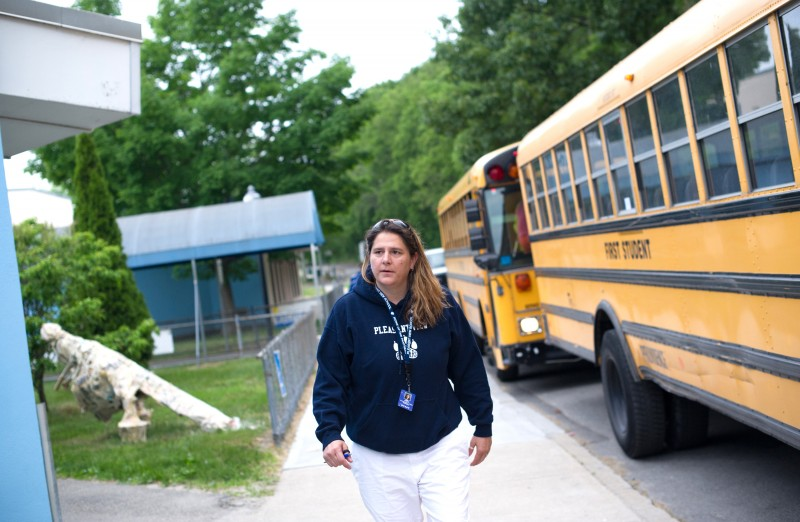 Pleasant View Elementary School Prinicipal Gara Field walks in front of the school on a morning this past June.