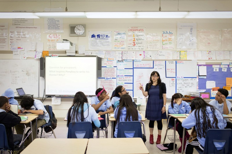 Mara Flores teaches English to 7th graders at Elmhurst Community Prep Middle School.
