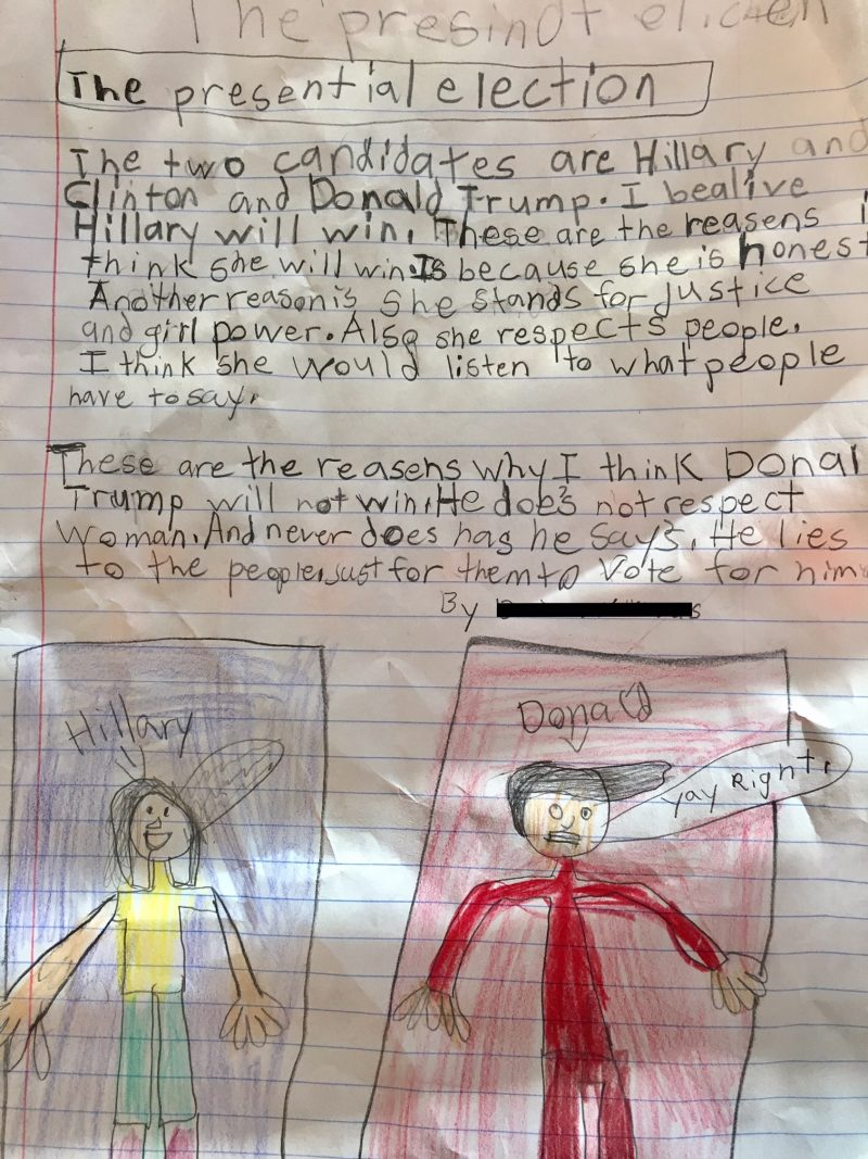 schoolchildren ldquo have a lot of questions and a lot of fear rdquo in a third grade student s essay about the election from elisabeth glikbarg s class glikbarg said her students who are mostly hispanic have been concerned