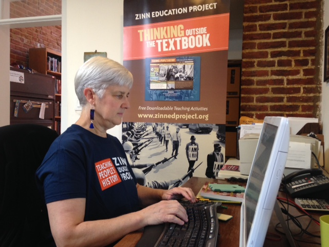 Zinn Education Project co-director Deborah Menkart works at the Teaching for Change office in Northwest Washington.