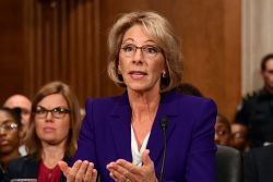 Betsy DeVos appears before the United States Senate Committee on Health, Education, Labor and Pensions for her a January confirmation hearing.