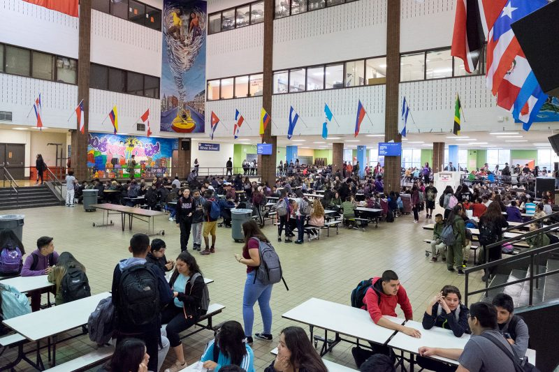 Benito Juarez Community Academy students waiting in the cafeteria for first period class to begin.