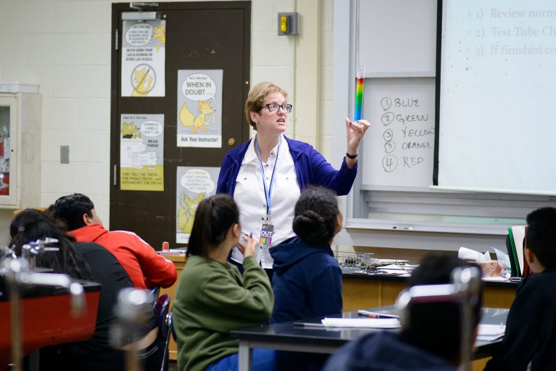 Chemistry teacher Mary Norris has seen a dramatic turnaround in academics and culture at the Benito Juarez Community Academy over the last nine years.